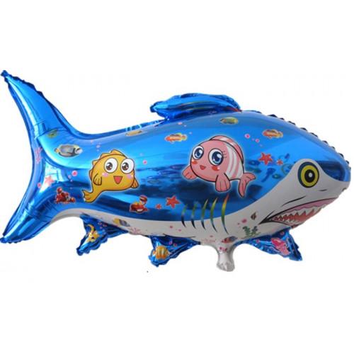 Шар (26''/67 см) Фигура, Акула с рыбками, Синий