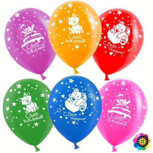 Воздушный Шар (12''/30 см) С Днем Рождения! (милые животные), Ассорти, пастель, 5 ст, 50 шт.