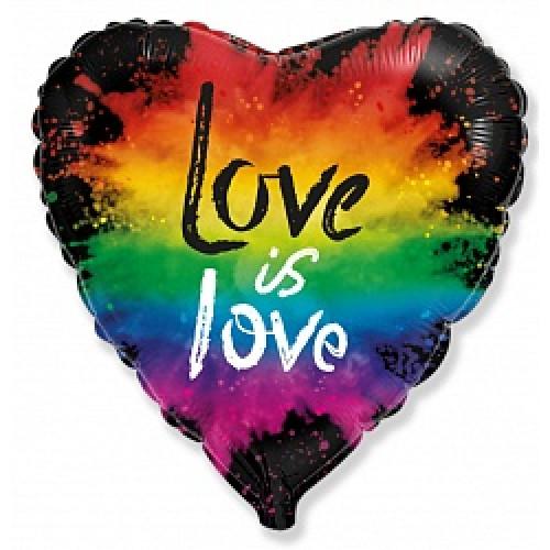 Шар (18''/46 см) Сердце, Любовь (яркие краски), Черный, 1 шт.