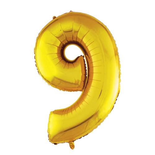 Шар (40''/102 см) Цифра, 9, Золото, в упаковке 1 шт.