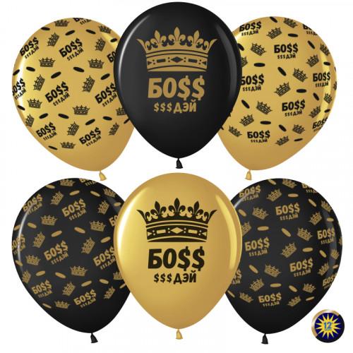 Воздушный шар (12''/30 см) Босс $$$ Дэй (корона), Золото (818)/Черный (299), металлик, 5 ст, 50 шт.