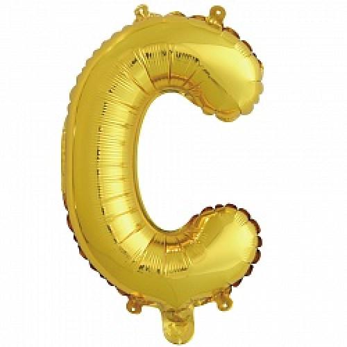 Шар с клапаном (16''/41 см) Буква, С, Золото, 1 шт.