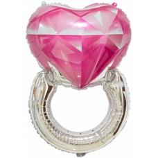 Шар (32''/81 см) Сердце, Кольцо с бриллиантом, Розовый, 1 шт.