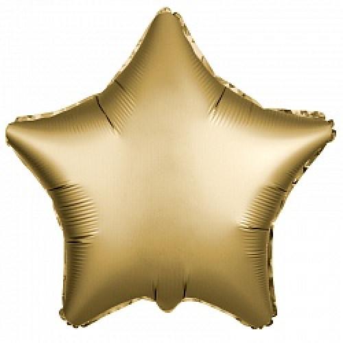 Шар (19''/48 см) Звезда, Золото, Сатин, 1 шт.