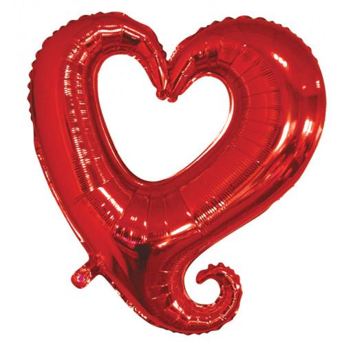 Шар (18''/46 см) Фигура, Цепь сердец, Красный, 1 шт.