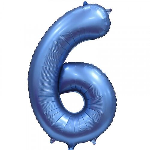 Шар (34''/86 см) Цифра, 6, Синий, Сатин, в упаковке 1 шт.