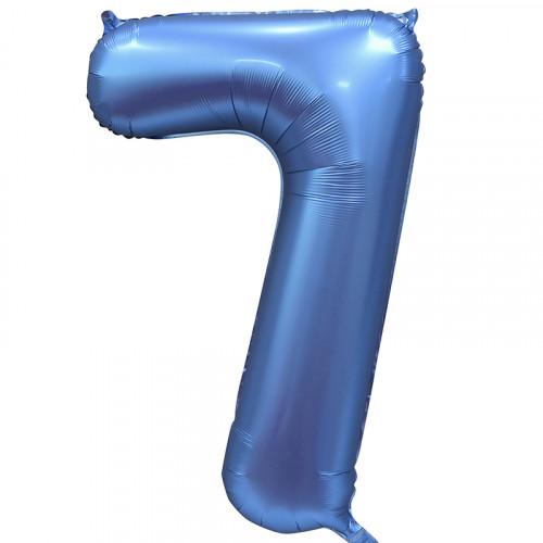 Шар (34''/86 см) Цифра, 7, Синий, Сатин, в упаковке 1 шт.