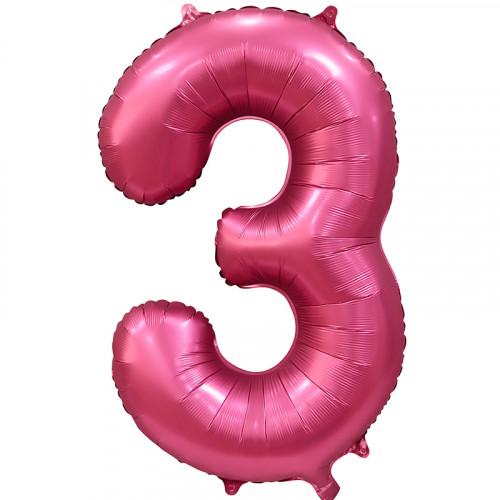Шар (34''/86 см) Цифра, 3, Бордовый, Сатин, в упаковке 1 шт.