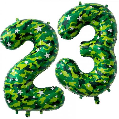 2302M, Шар (34''/86 см) Цифра, 23 Февраля, Камуфляж, в упаковке 2 шт.