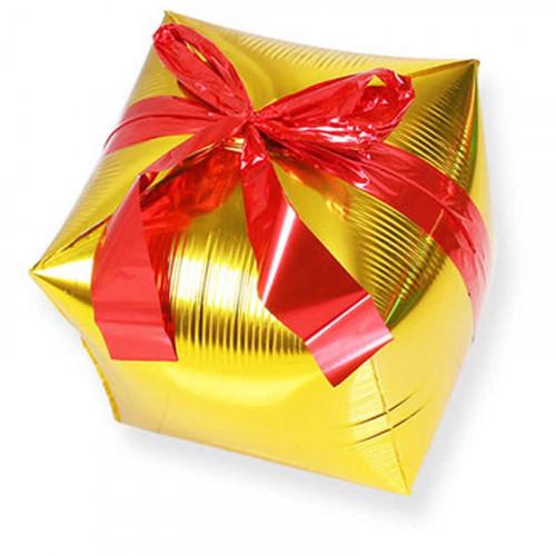 Шар (28''/71 см) Куб, Подарок с бантиком, Золото