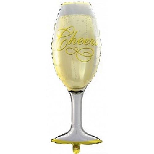 Шар с клапаном (17''/43 см) Мини-фигура, Бокал шампанского, 1 шт.