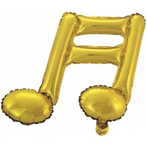 Шар с клапаном (16''/41 см) Мини-фигура, Нота двойная, Золото,