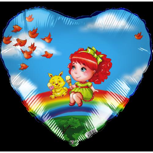 Воздушный шар (18''/46 см) Сердце, Девочка на радуге, Голубой, 1 шт.
