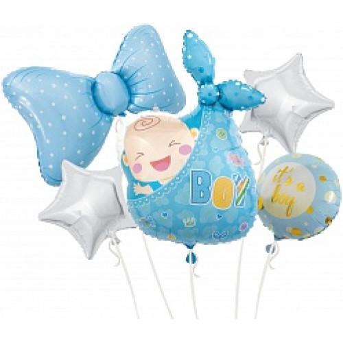 Набор шаров (36''/91 см) Новорожденный, Малыш Мальчик, Голубой, 5 шт. в упак.