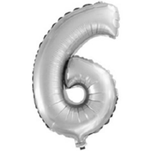 Шар с клапаном (16''/41 см) Цифра, 6, Серебро, 1 шт.