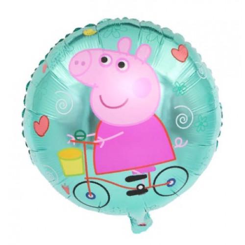 Шар (18\'\'/46 см) Круг,Свинка Пеппа на велосипеде, зеленый