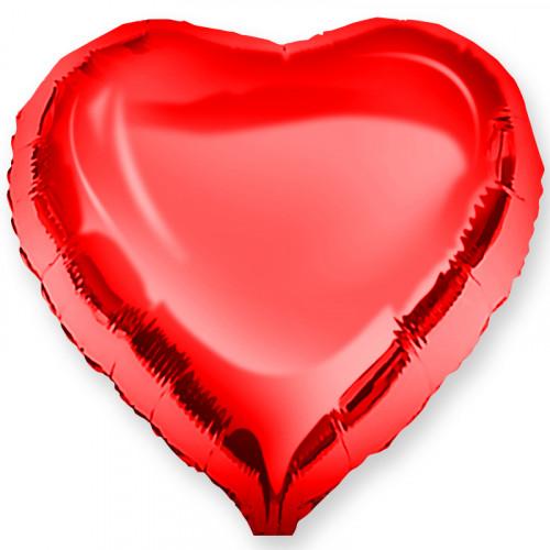 Шар с клапаном (10''/25 см) Мини-сердце, Красный, 1 шт.
