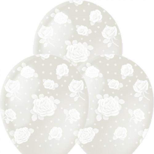 """M 12""""/30см Декоратор (растр) TRANSPARENT 5 ст. рис Розы 25шт шар латекс"""