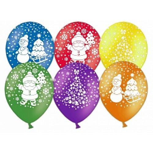 Шар (12''/30 см) Новый год (дед мороз, елочка, снеговик), Ассорти, пастель, 5 ст, 100 шт.