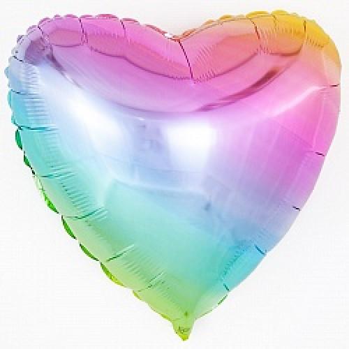 Шар (18\'\'/46 см) Сердце, Нежная радуга, Градиент, 1 шт.