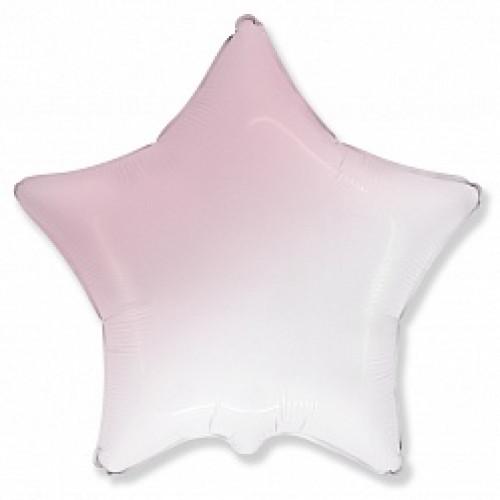 Шар (18''/46 см) Звезда, Розовый, Градиент, 1 шт.