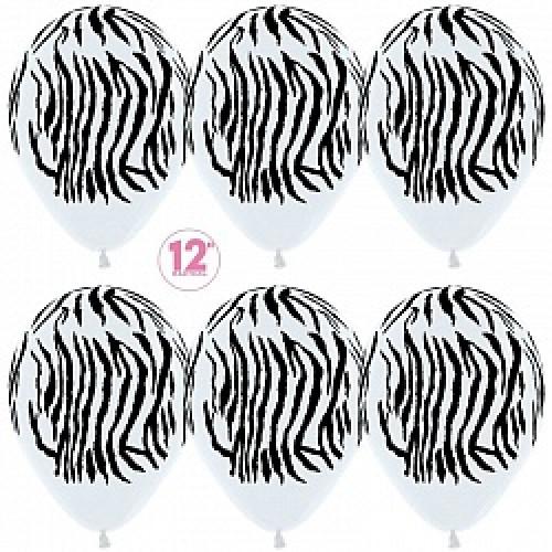 Воздушный шар (12''/30 см) Зебра, Белый (005), пастель, 5 ст, 50 шт.