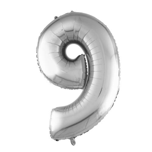 Шар (40''/102 см) Цифра, 9, Серебро, в упаковке 1 шт.