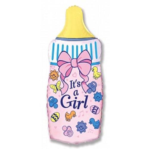Шар (14''/36 см) Мини-фигура, Бутылочка для девочки, Розовый