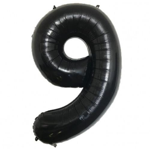 Шар (40''/102 см) Цифра, 9, Черная, Китай.