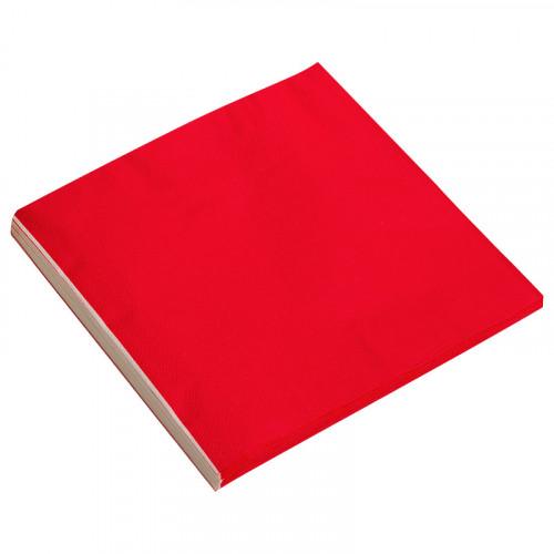 Салфетки однотонные, красный, 32х32см, 20шт