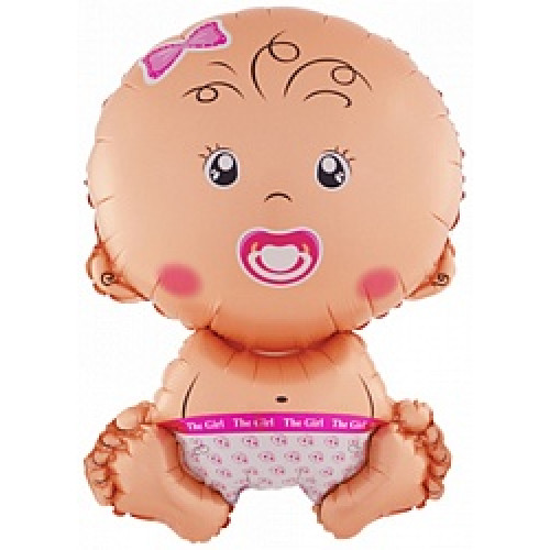Шар (28''/71 см) Фигура, Малышка девочка, Розовый