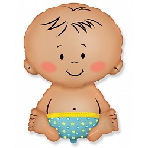 Шар (26''/66 см) Фигура, Малыш мальчик, Голубой, FlexMet