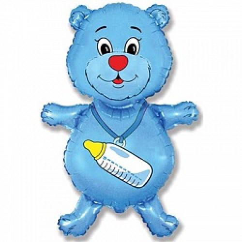 Шар (36''/91 см) Фигура, Медвежонок-мальчик, Синий