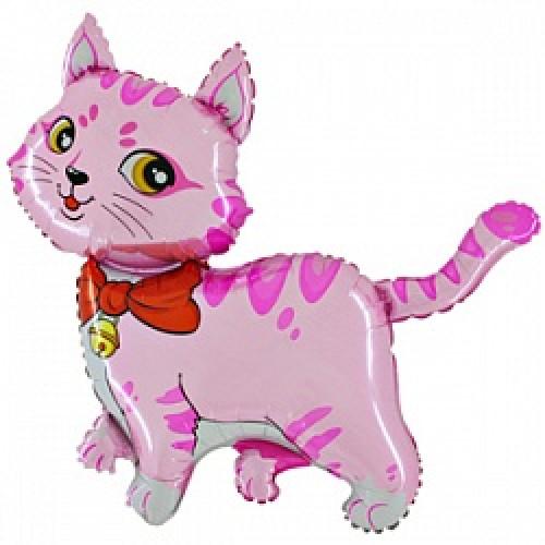 """Шар (14""""/36 см) Мини-фигура, Милый котенок, Розовый"""