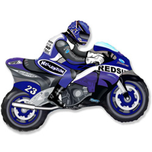 Шар (14''/36 см) Мини-фигура, Мотоцикл, Синий