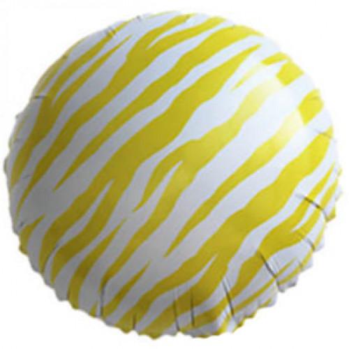 Шар (18''/46 см) Круг, Полоски зебры, Желтый
