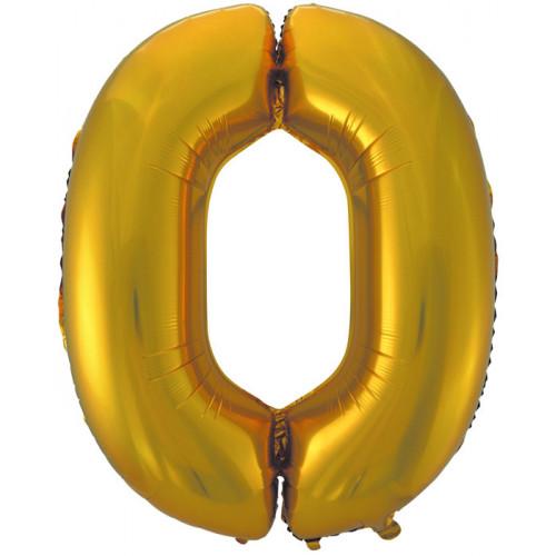 """Шар (40""""/102 см) Цифра, 0, Золото"""
