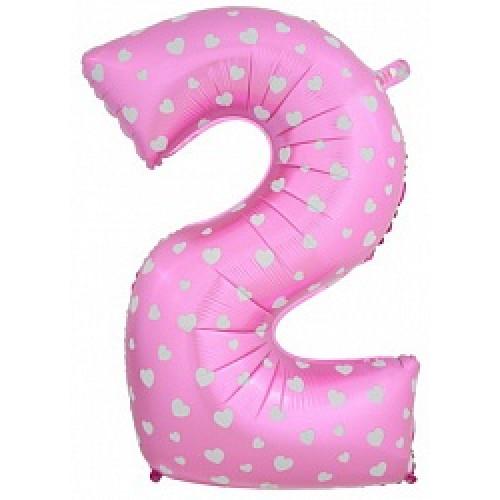 """Шар (40""""/102 см) Цифра, 2, Розовый"""