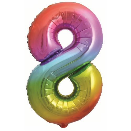 Шар (34''/86 см) Цифра, 8, Яркая радуга, Градиент, в упаковке 1 шт.