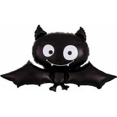 Шар (34''/86 см) Фигура, Летучая мышь, Черный, 1 шт.