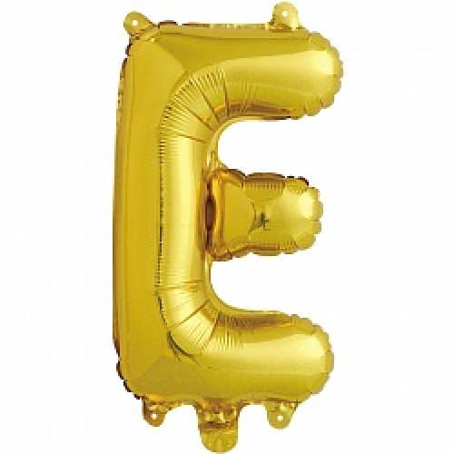 Шар с клапаном (16''/41 см) Буква, Е, Золото, 1 шт.