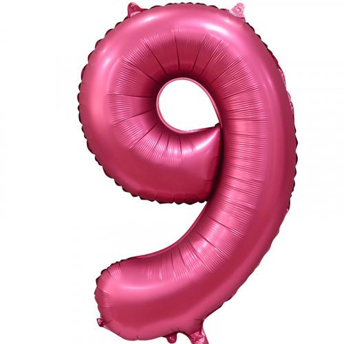 Шар (34''/86 см) Цифра, 9, Бордовый, Сатин, в упаковке 1 шт.