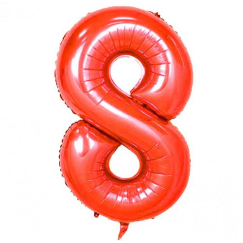 Шар (40''/102 см) Цифра, 8, Красная, Китай.