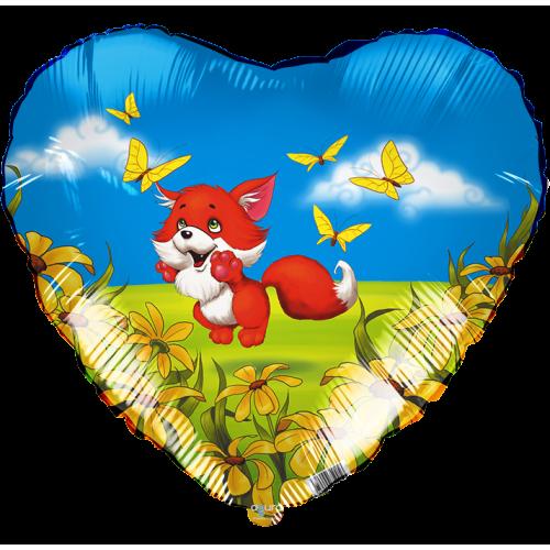 Шар (18''/46 см) Сердце, Лисенок, 1 шт.
